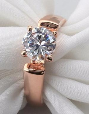 Anillo 14 K Oro Rosa Compromiso Y Cristal Swarovski Certif.