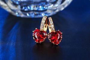 Aretes De Oro Rosa Corazon Swarovski Rojo Certific.