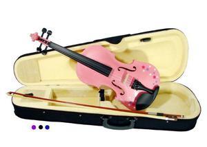 Violin 4/4 Con Estampado Rosa Con Estuche Arco Audiomex