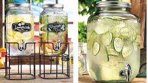 Vitrolero Dispensador Bebidas Mason Jars 8 Litros + Base