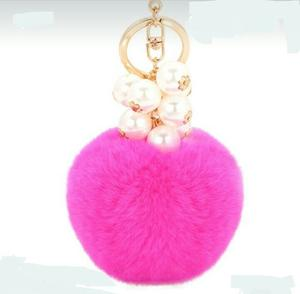 12 Llaveros Pompón Con Perlas Pompon Accesorio Bolsa