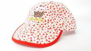 Cachuchas Bebé Niñas florecitas rojas y Cup Cake M2
