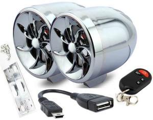Bocinas Amplificadas Cromadas Para Moto Cable Usb Y Alarma