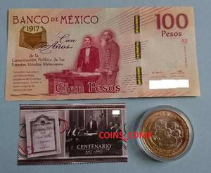 Billete $100 Centenario Constitucion Timbre Moneda