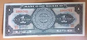 Billete Banco De Mexico $1 Peso Azteca  Sin Circular