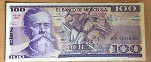 Billete El Banco De Mexico Sa 100 Pesos  Escaso
