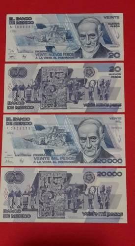 Juego De 2 Billetes Antiguos 20 Y 20 Mil Andres Quintana Roo