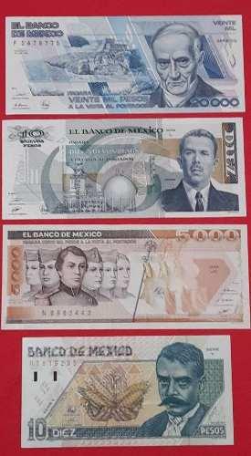 Juego De 4 Billetes 20 Mil, 5 Mil, 10 Zapata Y Lazaro C.