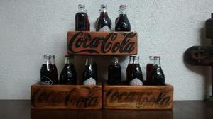 Coca Cola Caja De Madera Y Botellas De Coleccion