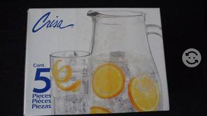 Juego de jarra de vidrio con 4 vasos nueva