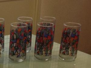 Vasos Coca Cola Diseño Vitrales 7 Piezas