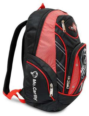 Mochila Escolar De 16 Mc. Carthy Mod. Mc-3 Negro/rojo