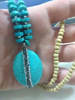 Collar Turquesa, Choker,piedra Preciosa,piedra Natural Nuevo
