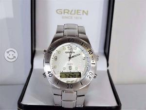 Reloj gruen dual,acero inoxidable nuevo y origina
