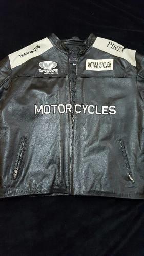 Chamarra De Piel Para Motociclista Xl Usado Negra Blanco
