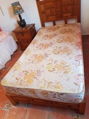 Remato Cama individual de madera, base, colchón, cabecera y