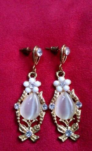 Aretes Antiguos Chapa Oro 18 Kt Cuarzo,Cristales,Zirconias