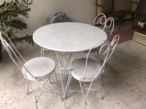 Mesa de herreria c 4 sillas juego completo posot class for Sillas para jardin de herreria