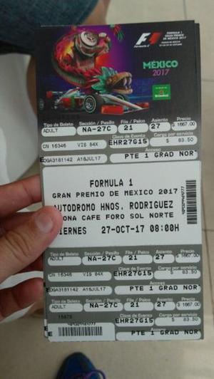 Vendo boletos para fórmula 1 Gran Premio F/SOLAMENTE