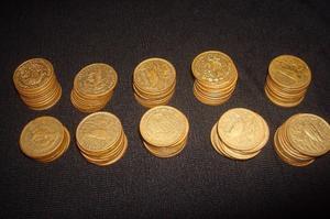 lote de 100 monedas de 20 centavos antiguas mexicanas