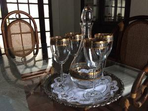 Licorera y Copas con Filigrana de Oro Horneado Cuernavaca