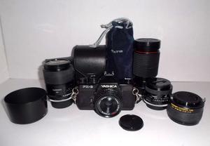 Cámara Yashica FX3 más 4 lentes y 1 tubo de extensión