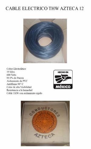 CABLE ELECTRICO CAL. 12 DE COBRE 99.9% ROLLO DE 100M