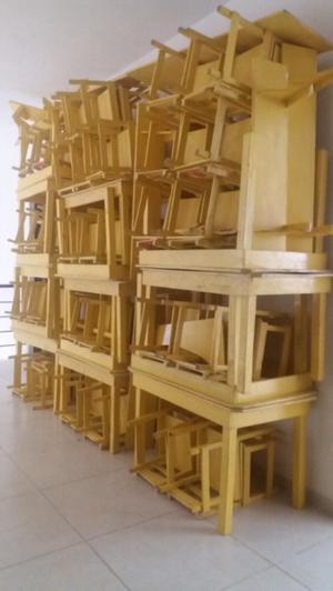 REMATE de MESAS Y SILLAS de madera para kinder