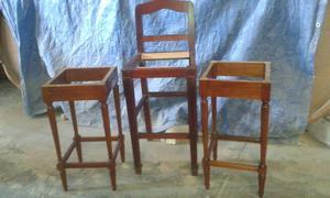 Bancos para barra de cocina de madera y herreria posot class for Bancos de madera para barra