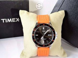 Reloj timex nuevo,tornasol,naranja,cristal minera