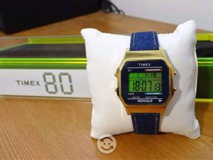 Reloj timex retro años 80,correa de piel,tornas,o