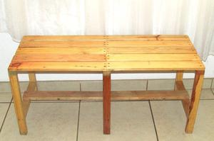 Banca rustica de madera 1m largo