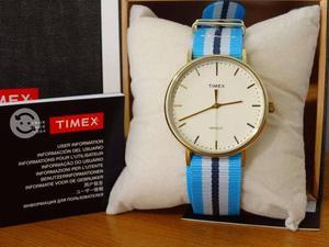 Reloj timex weekender,elegante,bisel oro,original,