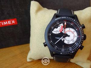 Reloj timex yatch racer,tx,correa de piel,2 motors