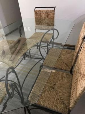 Comedor de fierro forjado con mimbre 6 sillas posot class for Comedor hierro forjado