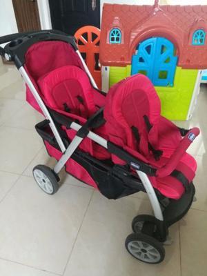 Carreola doble con porta bebes