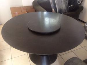 Comedor redondo 4 sillas color chocolate posot class for Comedor redondo 6 sillas