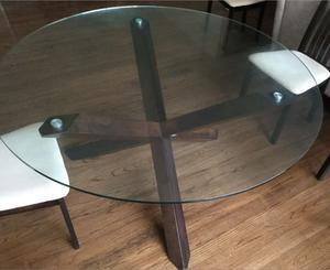 Comedor de vidrio y madera, 6 personas