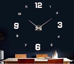 Reloj De Pared color plata, grande y moderno números en 3D