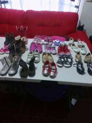 Lote de calzado 21 pares para niña numeros 15 y 16