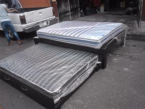 Colchones para cama y bases posot class for Cama matrimonial con cama individual abajo
