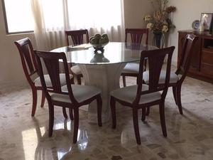 Comedor mesa redonda madera fina 6 sillas celaya posot class for Mesa redonda esquinera