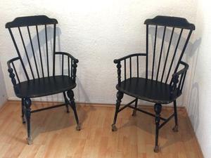 Dos bellas sillas vintage de hierro forjado