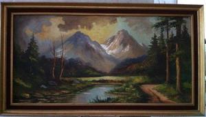 Pinturas al óleo enmarcadas (Lote de 4)