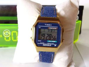 Reloj timex caratula tornasol,correa de piel,caj,n