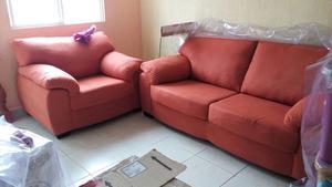 Sofá y sillón Liss Suede Persimon Naranja