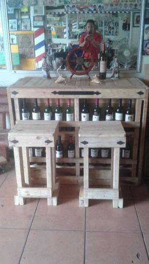 Barra tipo cantina rústica decorativa madera de pino