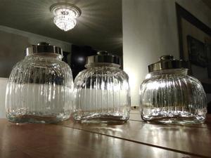 Juego de 3 recipientes de cristal