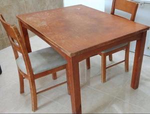 REMATO!!! Mesa de madera con 2 sillas