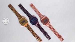 Reloj CAsio a168 Dorado Rosa Negro Retro Clasico